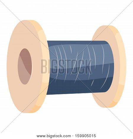 Wooden coil with blue threads icon. Cartoon illustration of wooden coil with blue threads vector icon for web