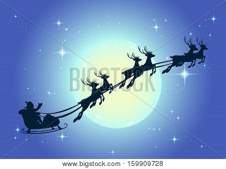 Santa Claus in sleigh and reindeer sled on background of full moon in night sky Christmas. Illustration for greeting card