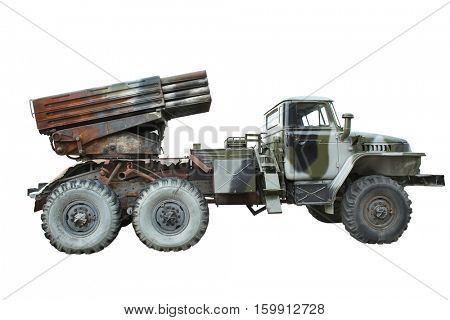 Multiple launch rocket system on white background