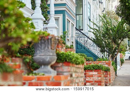 Beautiful Porches Of Wooden Houses On Street Of San Francisco, Usa