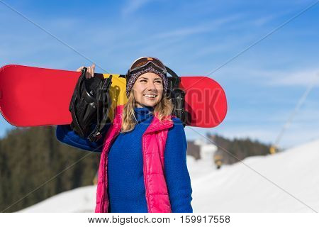 Young Girl Tourist Snowboard Ski Resort Snow Winter Mountain Happy Smiling Woman On Holiday Extreme Sport Vacation