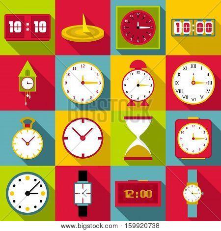 Clocks icons set. Flat illustration of 16 clocks vector icons for web