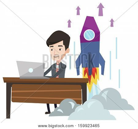 Young caucasian businessman working on business start up and business start up rocket taking off behind him. Business start up concept. Vector flat design illustration isolated on white background.