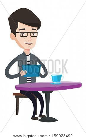 Man using a tablet computer in a cafe. Man surfing in social network. Social network concept. Man rewriting in social network in a cafe. Vector flat design illustration isolated on white background.