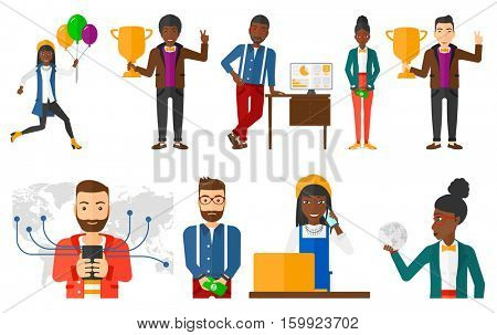 Businessman using smartphone connected to global network. Man holding smartphone with social network. Concept of global network. Set of vector flat design illustrations isolated on white background.