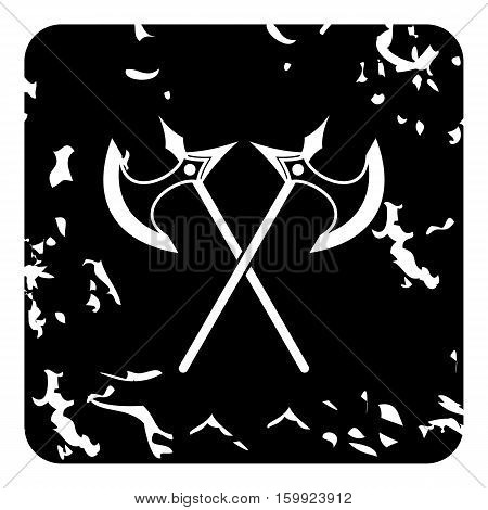 Two battle axes icon. Grunge illustration of two battle axes vector icon for web