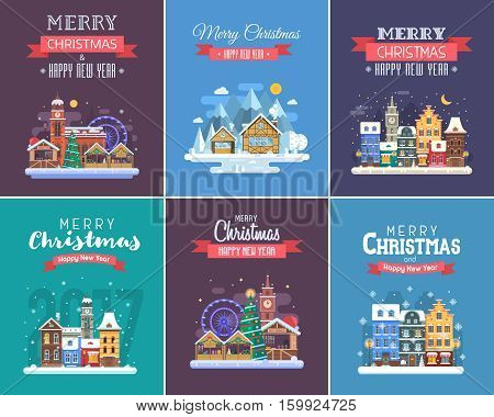 Winter holidays congratulation templates in flat design. Christmas and New Year wishing cards with traditional celebration text and winter festive backgrounds.