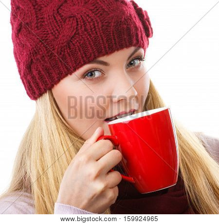 Woman In Cap And Shawl Drinking Tea Or Coffee, Christmas Time