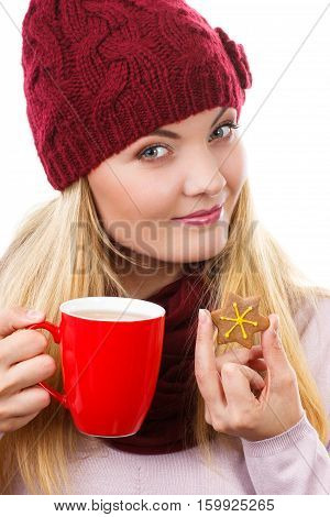 Woman In Cap And Shawl Holding Gingerbread And Cup Of Hot Tea, Christmas Time