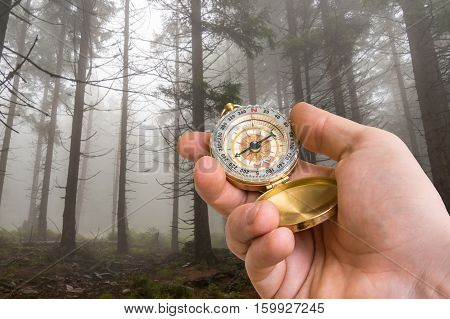 Traveler Man With Compass Seeking A Right Way In The Forest