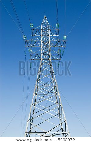 picture of electrical powerline against blue sky
