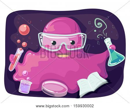 Sci-fi Illustration of a Pink Monster Mascot Performing Laboratory Experiments