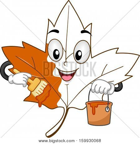 Mascot Illustration of a White Maple Leaf Holding a Bucket of Paint Painting Itself Orange