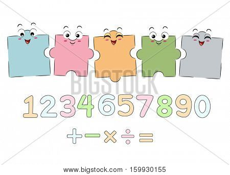 Mascot Illustration Featuring Jigsaw Puzzle Pieces Arranged Above Numbers and Mathematical Symbols