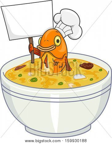 Mascot Illustration of a Toque Wearing Fish in a Bowl of Soup Holding a Blank Board