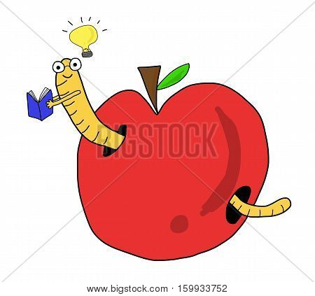 Seek Knowledge Worm In Red Apple Reading Book