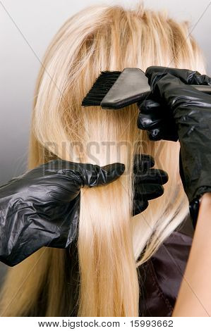 hairdresser doing hair dye. photo against grey background