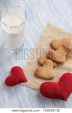 Tasty Cookies And Glass Of Milk On Background