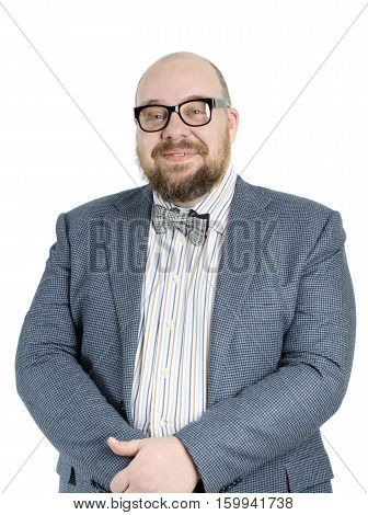 Smiling Bearded Man In A Full Jacket..