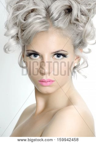 Beauty Portrait Of A Pretty Girl With Silver Hair..