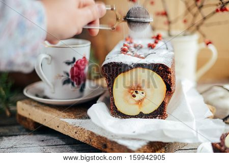 Rustic Open Apple And Pear Pie In Rustic Table Setting. Baked Pe