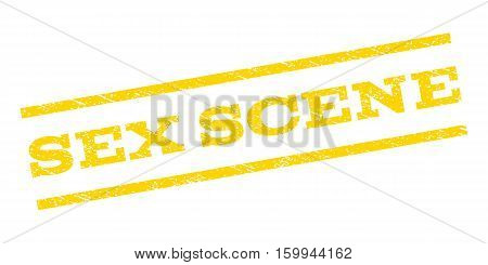 Sex Scene watermark stamp. Text caption between parallel lines with grunge design style. Rubber seal stamp with scratched texture. Vector yellow color ink imprint on a white background.
