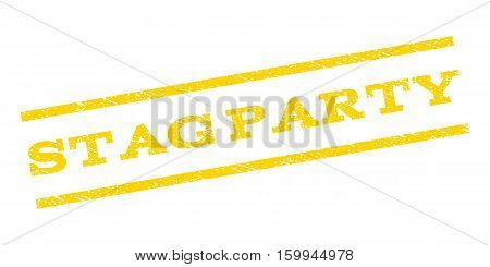 Stag Party watermark stamp. Text tag between parallel lines with grunge design style. Rubber seal stamp with dirty texture. Vector yellow color ink imprint on a white background.