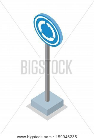 Roundabout road sign vector illustration in isometric projection. Picture for traffic concepts, application icons, infographics, logotype design. Isolated on white background.