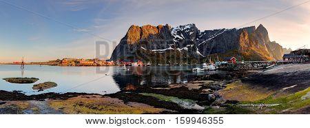Lofoten - Norway at a sunset, panoramic view