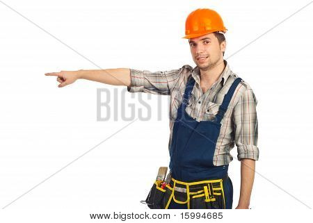 Builder Man Pointing To Copy Space