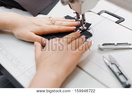 Seamstress Sewing Machine Tailor Needlework Garment Equipment Clothes Workshop Concept