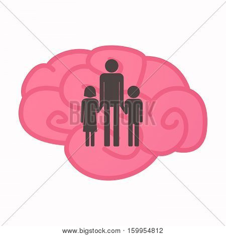Isolated Brain With A Male Single Parent Family Pictogram