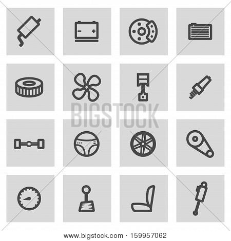 Vector line car parts icons set on grey background