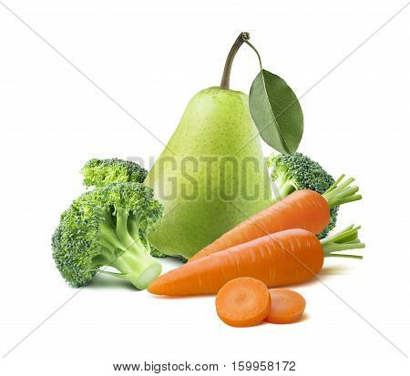 Whole green pear broccoli carrots isolated on white background as package design element