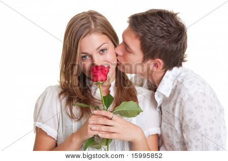 lively young couple with rose. isolated on white