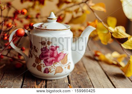 Tea In The Rustic Chic Style.  Tea Party.  Green Tea In A Cup An