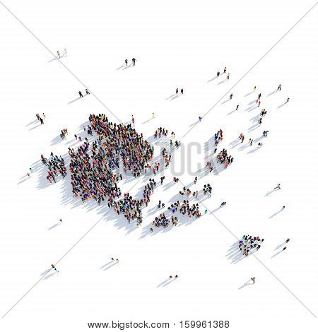 Large and creative group of people gathered together in the form of a map Aland Islands. 3D illustration, isolated against a white background.