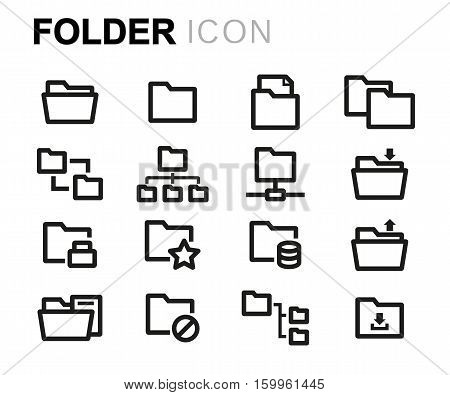 Vector line folder icons set on white background