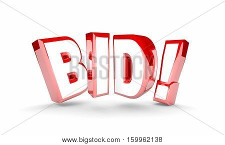 Bid Auction Buy Item Product High Price Win Word 3d Illustration