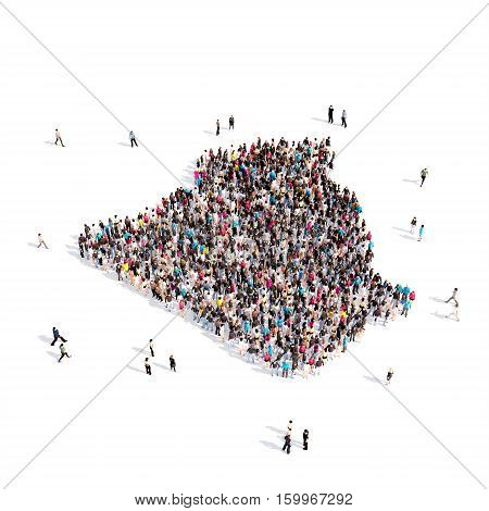 Large and creative group of people gathered together in the form of a map Algeria. 3D illustration, isolated against a white background.