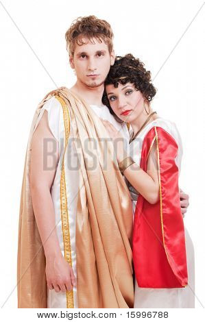 portrait of couple in Greek style. isolated on white background