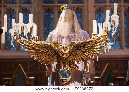 Leavesden, London, UK - 1 March 2016: Speech platform and Professor Dumbledore costume. Warner Brothers Studio display