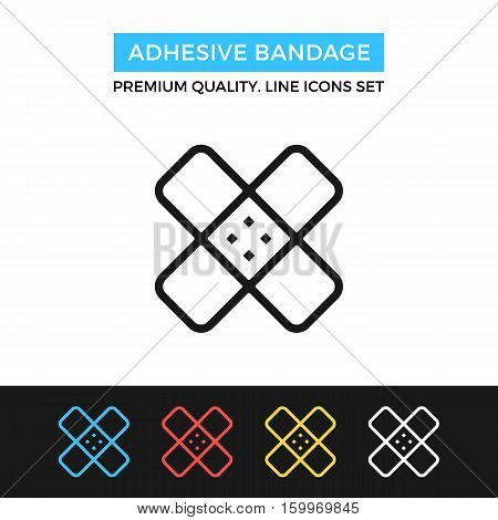 Vector adhesive bandage icon. Sticking plaster. Premium quality graphic design. Modern signs, outline symbols collection, simple thin line icons set for websites, web design, mobile app, infographics