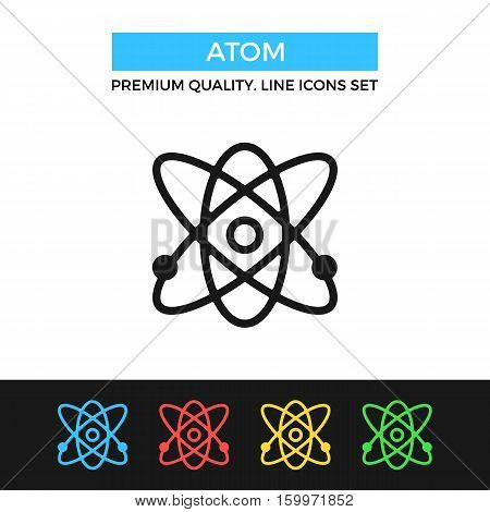 Vector atom icon. Molecule, science concepts. Premium quality graphic design. Modern signs, outline symbols collection, simple thin line icons set for websites, web design, mobile app, infographics