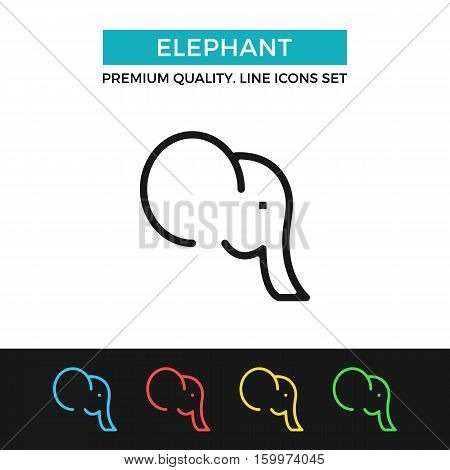 Vector elephant icon. Premium quality graphic design. Modern signs, outline symbols collection, simple thin line icons set for websites, web design, mobile app, infographics