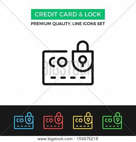 Vector credit card and lock icon. Security. Premium quality graphic design. Modern signs, outline symbols collection, simple thin line icons set for websites, web design, mobile app, infographics
