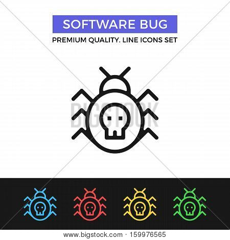 Vector software bug icon. Program error concept. Premium quality graphic design. Modern signs, outline symbols collection, simple thin line icons set for websites, web design, mobile app, infographics