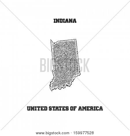 Label with map of indiana. Vector illustration.
