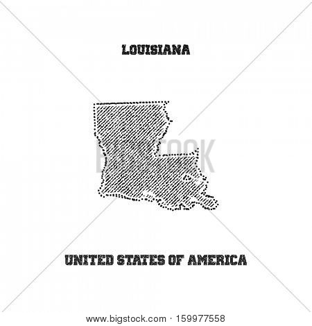 Label with map of louisiana. Vector illustration.