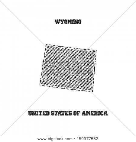 Label with map of wyoming. Vector illustration.